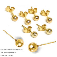 Gold Vacuum Color,Stainless Steel Surgical Yellow Ball Luxury Stud Earrings Sided Earring 3-10mm Size