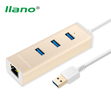 llano USB 3.0 Hub 10/100/1000 Mbps Gigabit Ethernet LAN Wired Network Adapter for Windows 7 8 XP Mac Linux 3 port USB to RJ45