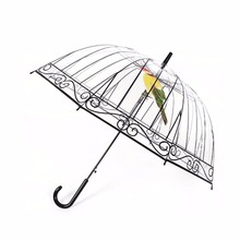 1PC Transparent Umbrella Creative Umbrella Long-handle Apollo Bird In The Cage Plastic Clear For Sunny And Rainy Days(China)
