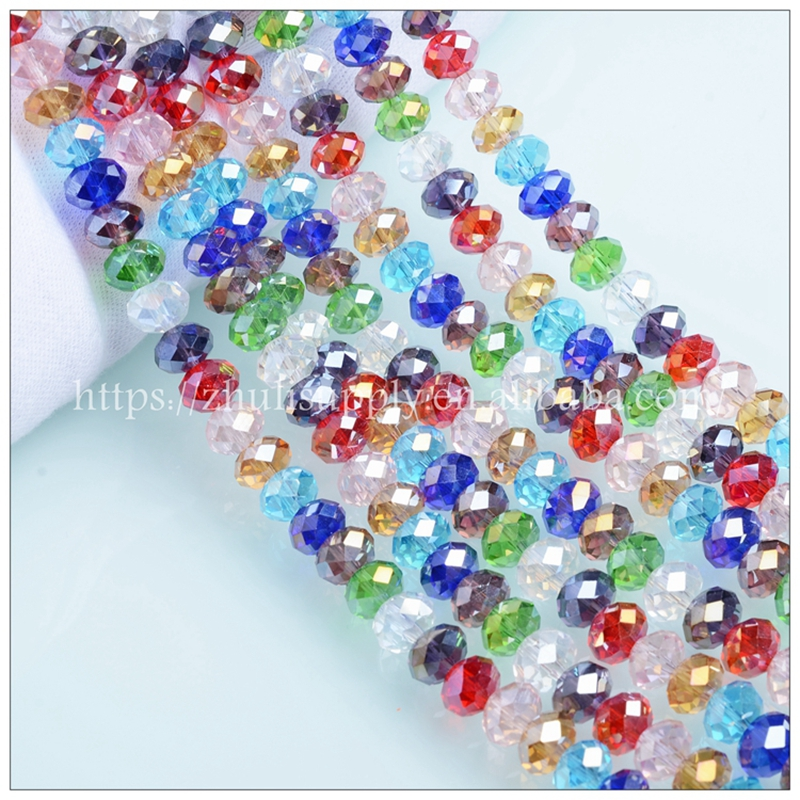 JuleeCrystal Mixed Color Glass Rondelle Beads 2/3/4/6/8mm Wholesale Faceted Round Beads for Jewelry Making