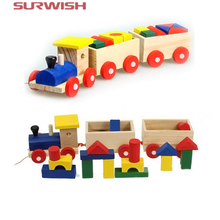 Surwish Three Section Pull Along Train with Building Blocks Children Baby Educational Wooden Toys
