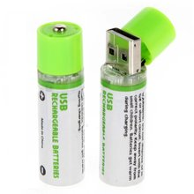 2pcs USB battery AA 1.2V 1450mAh NI-MH Cells USB Rechargeable Battery (Green)