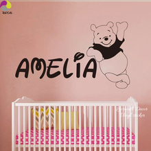 Personalized Name Winnie the Pooh Wall Sticker Decal Baby Nursery 150cmx87cm Custom Name Bear Vinyl Home Decor Mural(China)