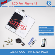 White Touch Screen Digitizer LCD and Glass Back Housing Cover and Home Button Replacement part For iPhone 4S with Tools Freeship