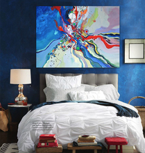 2017 new hot sell sunrise modern home decor moderno abstract oil painting Watercolor painting seaside blue canvas art wall