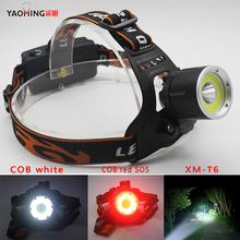 New adjustable XML-T6+COB Headlight+red LED SOS 3 model Headlamp for 2 * 18650 battery Head Lights For Outdoor Super Bright Lamp