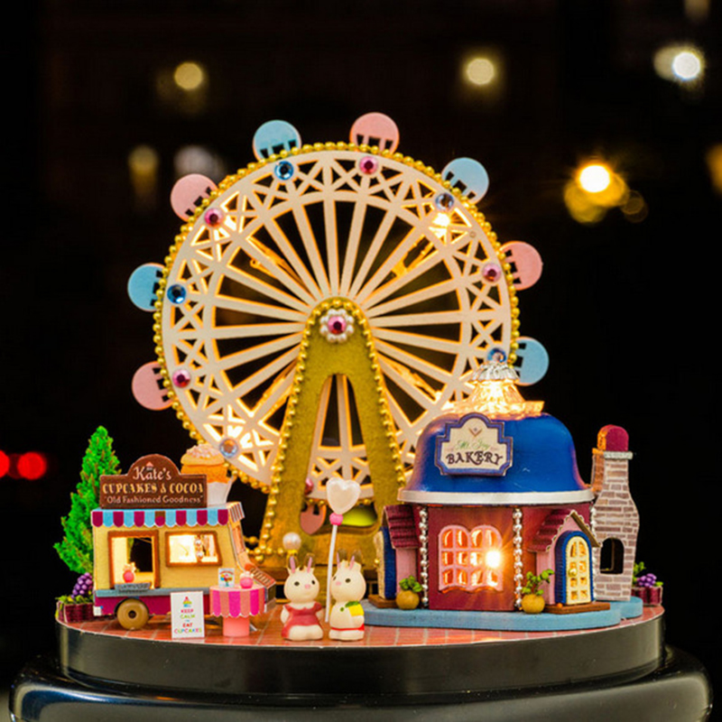 DIY Room Fashion Wooden Assembled Mini Cottage Miniature Happy Ferris Wheels One Set Doll House Furniture Wood Miniatura Toys (2)