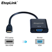 EtopLink Mini HDMI to VGA convertor adapter top quality mini HDMI to VGA transfer cable for XBOX TV screen PC projectors Laptop(China)