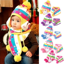 autumn winter hat baby bomber hat kids cap with ear flaps/rabbit shaped knit wool long-eared hat & scarf  for 1-3 years old girl