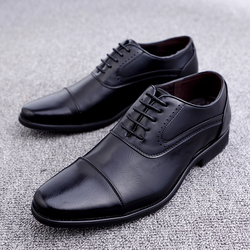 men spring working shoes luxury brand italian eurpean style pointed toe elegant male footwear dress working oxford shoes for men (24)