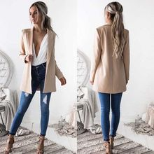 New Fashion Women Ladies Suit Coat Business Blazer Long Sleeve Outwears Office Lady's Long Blazers(China)