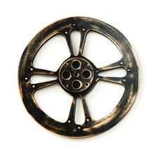 Wood Crafts 38cm Round Black Gear Mural Bar Art Office Gear Wall Decoration Creative Home Decor Ornaments Decorative Wall Design(China)
