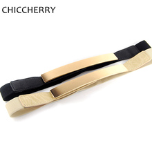 New Fashion Ladies Belts Gold Metal Mirror Plate Elastic Thin Waist Belt For Women Dresses Cintos Cinturon Fino Elastico Mujer