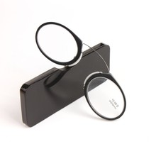 2016 Portable Nose Clip Reading Glasses Wallet Readers Glasses yr6122(China)