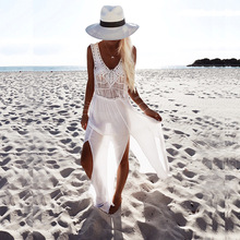 sexy white beach cover up bikini cover up swimwear women summer dress beach skirt cover ups crochet beach cover up(China)
