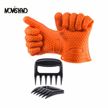 4pcs/set Heat Resistant Silicone BBQ Grill 5 Fingers Gloves with Claw For Cooking Kitchen Oven Mitts()