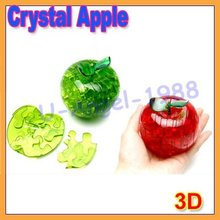 5pcs/lot 3D crystal apple puzzle toy flash gift education item(Christmas Gift)