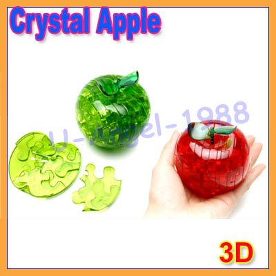 5pcs/lot 3D crystal apple puzzle toy flash gift education item(Christmas Gift)<br><br>Aliexpress