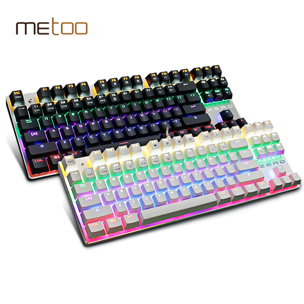 Metoo Genuine  LED Backlit Gaming Mechanical Keyboard 87/104 keys Blue/Black Switch Metal Anti-ghosting Keyboard Russian sticker<br><br>Aliexpress