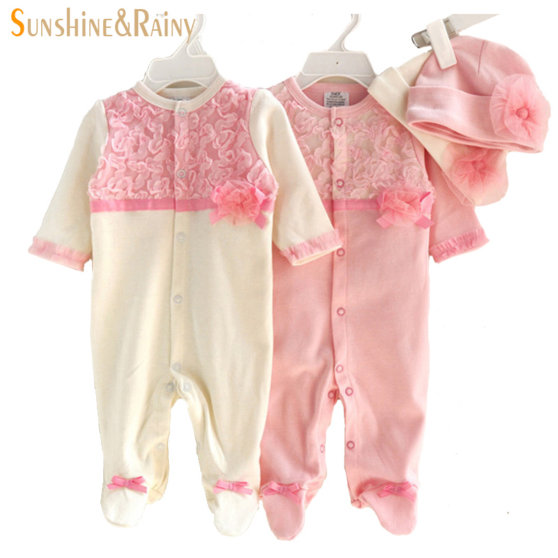 Princess Style Newborn Baby Girl Clothes Kids Birthday Dress Girls Lace Rompers+Hats Baby Clothing Sets Infant Jumpsuit Gifts