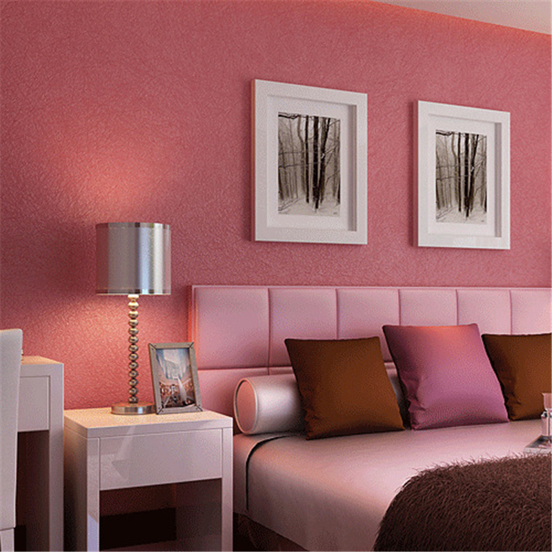 beibehang Modern simple pure color silk non-woven bedroom bedroom living room background full of wallpaper<br>