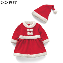 COSPOT Baby Girls Winter Christmas Dress+Hat Boys Christmas Romper Newborn Plain Red Jumpsuit+Hat Kids Christmas Clothing 15F