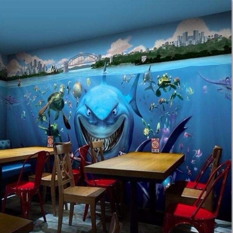 Custom wall paper underwater world of cartoon shark Restaurant Kindergarten childrens room 3d wall mural wallpaper<br><br>Aliexpress
