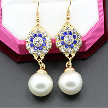 promotion price fashion Green pearl fine zinc premium women earrings  brand cc allied express jewelry