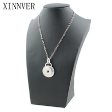 Fashion Metal Snap Necklace Metal Round Crystal Elegant Length 55CM fit 18MM Snap Buttons Jewlery Wholesale Women ZG010(China)
