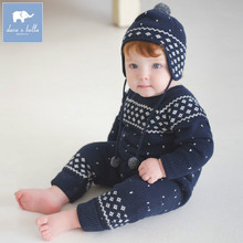 Brand Quality chiristmas baby boy girl romper knitted wear baby clothing print fleece comfortable infant one-pieces jumsuit6-24M
