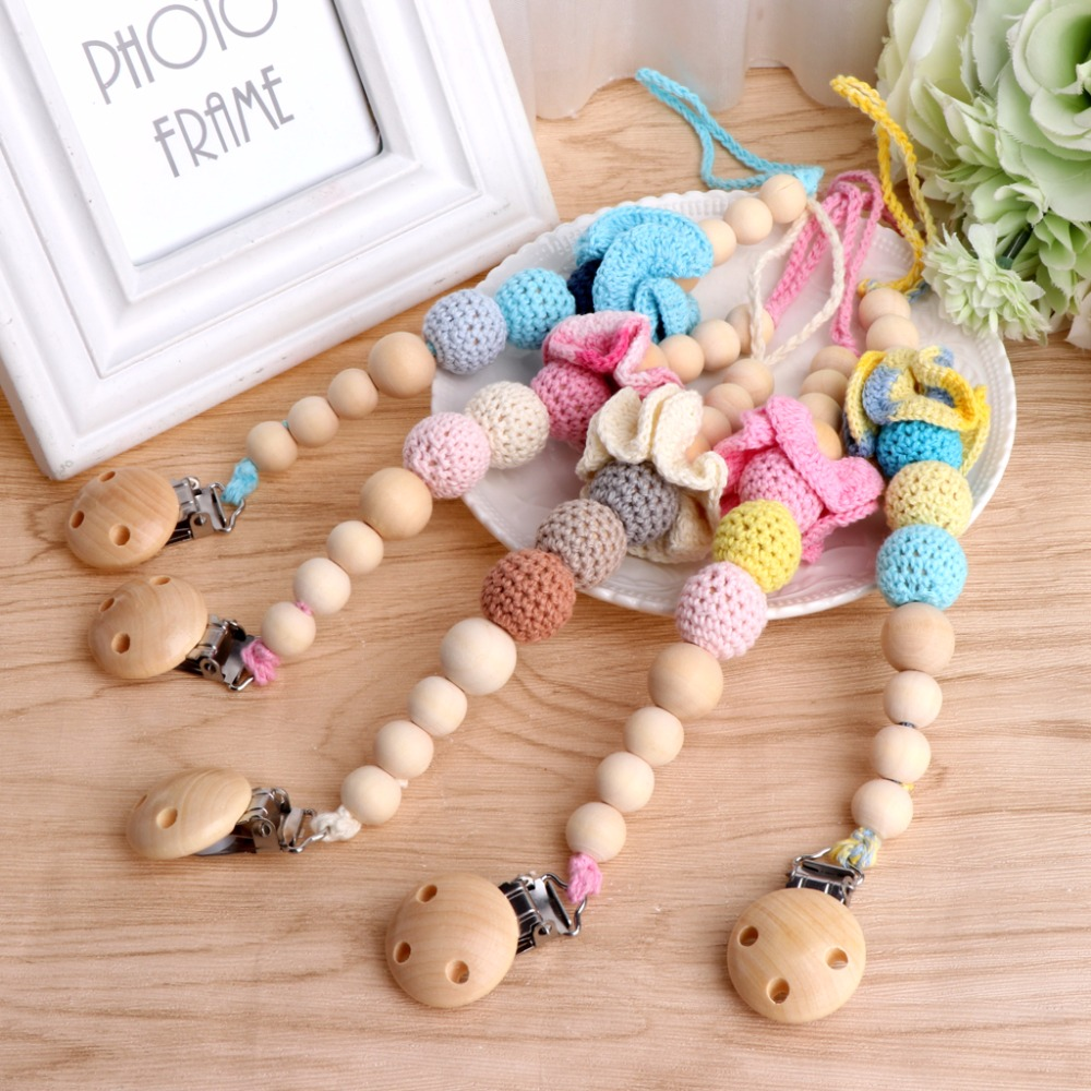 OOTDTY Baby Toddler Dummy Pacifier Infant Baby Soother Nipple Flower Wood Chain Clip Holder