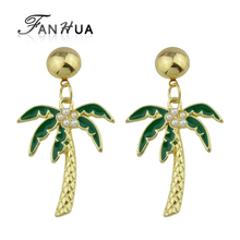 FANHUA Acrylic Green Color Coconut Tree Pattern With Simulated-pearl Brincos Gold-Color Drop Earrings For Women Jewelry