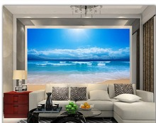 3d landscape wallpaper 3d wallpaper Beach blue sky and white clouds mural 3d wallpaper photo wall murals wallpaper(China)