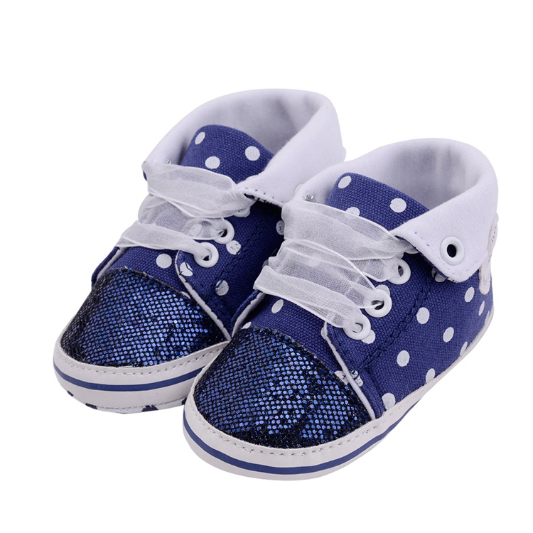 Infant Newborn Baby Girls Boy Glitter Polka Dots Autumn Lace-Up First Walkers Sneakers Shoes Adorable RibbonToddler Canvas Shoes 23