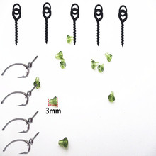 95pcs Fishing Matte black Teflon Barbed carp hooks with hook stoppers and 13mm boilie screws with ring loops