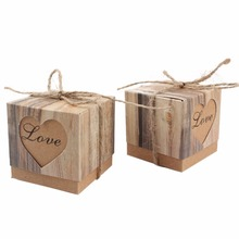 50pcs/pack Romantic Wedding Candy Box Heart Kraft Gift Box with Burlap Twine Chic Wedding Favors and Gifts Bag Party Supplies
