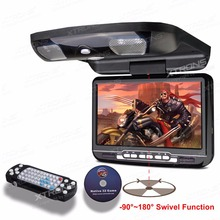 "XTRONS 1pc Black Monitor 9""Digital Screen Flip down In Car Roof Mounted DVD Player Built-in IR & FM Transmitter Speakers"