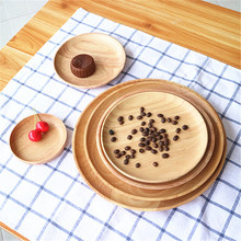 Rubber Wood Solid Wood All Kinds of Size Disc Creative Simple Dessert Wooden Plate