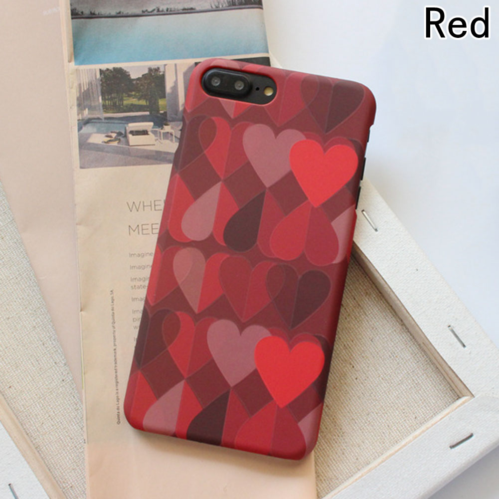 Red Love Heart Phone Case For iPhone 6/6s/7/8/X Scrub Soft TPU Case For iPhone 6/6s/7/8 Plus Back Cover