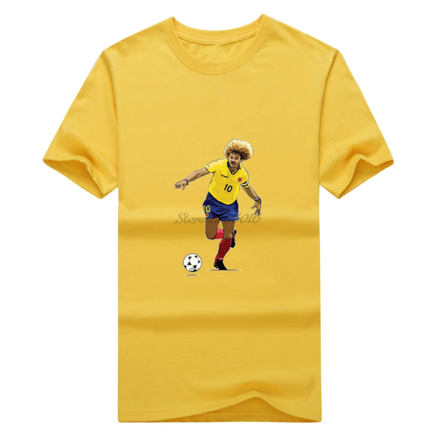 Men The Child Carlos Valderrama #10 'El Pibe' Colombia Legend Captain T-shirt Clothes T Shirt Men's o-neck tee W17072603(China (Mainland))