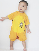 Baby Garfield Costume Infant Baby Romper Halloween Costume For Boys Girls One Piece Jumpsuit Short Sleeve Hooded Pajamas(China)