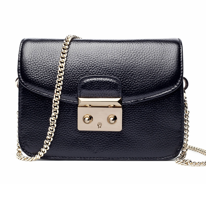 Womens Handbags 100% Genuine Leather Chain Lock Small Square Flap Bag Messenger Bags First Layer Cowhide Crossbody Bag Bolsas<br>