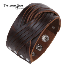 Suitable for mature male leather retro punk personality to lead the fashion jewelry cowhide bracelet simple elegant hand made(China)