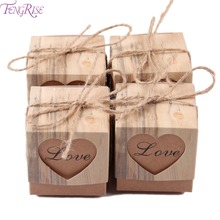 FENGRISE 100 pieces Love Heart Candy Box Rustic Wedding Gifts Kraft Packing Box With Burlap Jute Ribbon Wedding Party Decoration