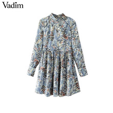 Vadim women vintage pleated floral dresses long sleeve stand collar female retro fashion autumn mini dresses vestidos QZ3235(China)