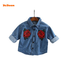 DzBoom Childrens Clothing 2017 Spring Summer New Flower Embroidery Denim Blouse Shirt Boys Girl Shirts Child Clothes Kids Tops