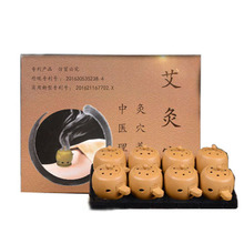 8pcs/set Portable Moxibustion Pots Elegant Packing with 100pcs Mini Moxa Sticks Therapy for Arm leg Abdomen(China)