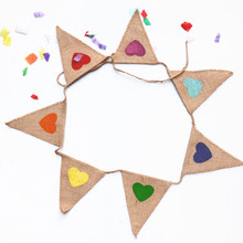 1 string Mulit-color Printing Heart Pattern Natural Burlap Pennant Banner Colorful Jute Bunting Flags Decor Event Party Supplies