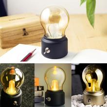 New Vintage Bulb Night Light Retro USB Lamp Rechargeable luminaria Nightlight LED energy-saving Book lights Mini Bed Lamps