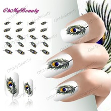 2 sheet Feather Decals Colorful Beautiful Feather Water Transfer Nail Art Stickers Accessories Tools(China)
